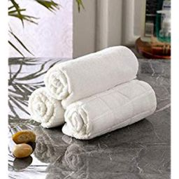 The Linen Company Pack of 3 Soft Cotton Face Towel Set White 13 x 13 Inch