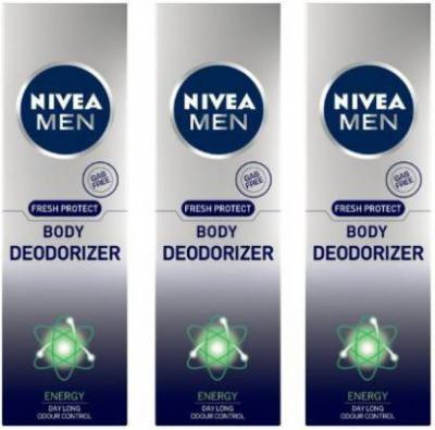 Nivea MEN Fresh Protect Body Deodorizer Energy Deodorant Spray - For Men  (360 ml, Pack of 3)