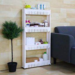 Saimani 4 Layer Space Saving Storage Organizer Rack Shelf with Wheels for Kitchen