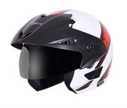 Vega Cruiser CR-W/P-ARS-WR-M Open Face Graphic Helmet (White and Red, M)