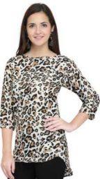 J B Fashion Party 3/4 Sleeve Animal Print Women Multicolor Top