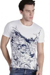 (size XL) Justice League Printed Men Round or Crew White