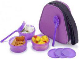 Flipkart SmartBuy Aqua - Purple 3 Containers Lunch Box  (600 ml)