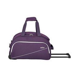 Safari Pep 63 Cms Polyester Purple Check-In 2 Wheels Soft Duffle