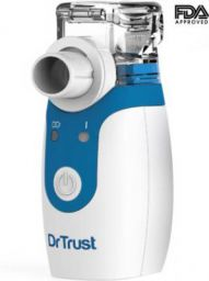 Dr Trust Portable Ultrasonic Mesh Nebulizer Machine Cool Mist Inhaler for Children and Adults (White)