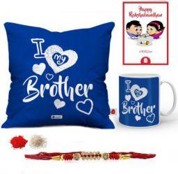 Designer Set  (1 Rakhi, 1 Cushion Cover, 1 Cushion Filler, 1 Coffee Mug, 1 Roli Chawal Packet, 1 Greeting Card)