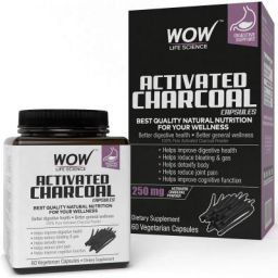 WOW Activated Charcoal 250mg - 60 Vegetarian Capsules