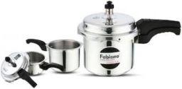 Fabiano Aluminium Pressure Cooker (Set of 3) 2L;3L & 5L Cookers With 2 Lids