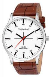 TIMEWEAR White Dial Brown Strap Watch for Men - 235WDTG