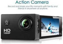 Spring Jump 1080P Sports Action Camera Waterproof & Wide Angle Sports and Action Camera  (Black, 12 MP)