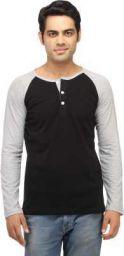 Leana Solid Men Henley Black, Grey T-Shirt