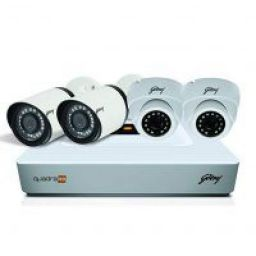 Godrej Security Solutions See Thru 1080P 4 Channel 2 Dome 2 Bullet Cameras HD Full CCTV Camera Kit (White)