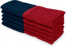 Swiss Republic Cotton 460 GSM Face Towel bar(pack of 10,dark blue, red)
