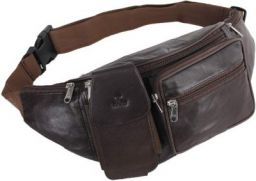 K London Stylish Real Leather Black Waist Bag Elegant Style Travel Pouch