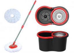 Eco Alpine 360 Degree Magic Spin Mop with Steel Spinner Plus 1 Refill Pack (Black and Red)