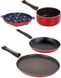 Nirlon Aluminium Cookware Set, 4-Pieces, Red/Black, 2.6mm_FT13_SP(M)_TP_AP(7)