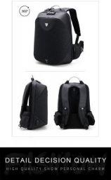 Bagzar 15.6inch Backpack Designer Laptop Case Water Resistant Bag with USB Charging Port Black Waterproof Backpack