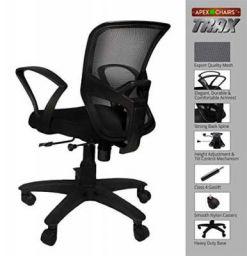 SAVYA HOME APEX CHAIRS TRAX Plastic Base Medium Back Chair (Black)