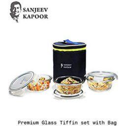 Sajeev Kapoor Boston Borosilicate Glass Round Lunch Box 3 pcs Set with Bag, 400 ml Each