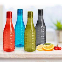Steelo Stark Plastic Water Bottle, 1 Litre, Set of 4