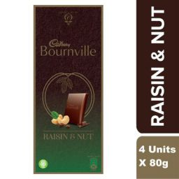 Cadbury Bournville Raisin and Nuts Dark Chocolate Bar, 80g (Pack of 4)