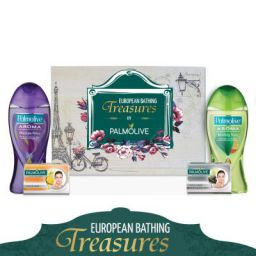 Palmolive European Bathing Treasures – Bathing Essentials Gift Pack ( Shower Gel, Facial Bar Soap)
