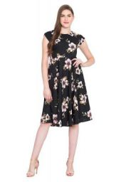 Rudraaksha Women's Crepe Floral Printed Fit and Flared Dress (Black, 2XL)