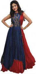 Mantra DISTRIBUTER Women's Taffeta Silk Heavy Embroidered Semi Stitched Anarkali Gown (Freesize) (20 20 red, 1)