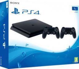 Sony PlayStation 4 (PS4) Slim 1 TB  (Jet Black, Additional DualShock 4 Controller)
