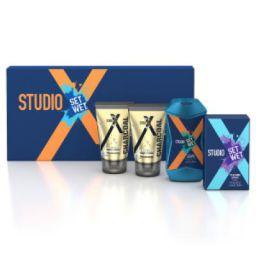 Set Wet Studio X Men's Grooming Kit, 490 ml (Charcoal Face Wash, Charcoal Peel-Off Mask, Perfume Spray and Shampoo)
