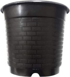 Unique Plastic Nursery Pot (8 inch, Black)