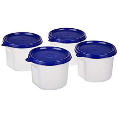 Amazon Brand - Solimo Round Plastic Container, 310 ml, Set of 4