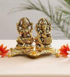 Collectible India Laxmi Ganesh Idol Showpiece Oil Lamp Diya Deepak - Metal Lakshmi Ganesh Statue