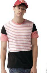 Harvard Color block Men Round or Crew White, Pink, Black T-Shirt