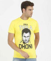 Dhoni Printed Men Round Neck Black, Yellow T-Shirt