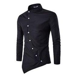 Jeevaan Mens Plain Solid Slim Fit Cotton Causal Shirt