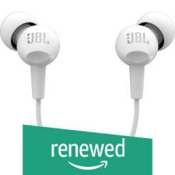(Renewed) JBL C100SI in-Ear Headphones with Mic (White)