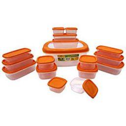 Princeware SF Packing Plastic Container Set, 17-Pieces, Orange