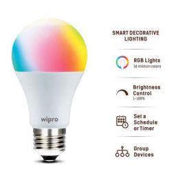 Wipro WiFi Enabled Smart LED Bulb E27 9-Watt (16 Million Colors + Shades of White) (Amazon Alexa and Google Assistant)
