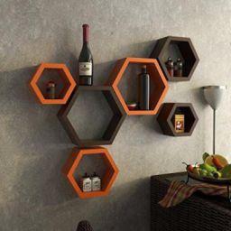 Decorasia Hexagon Shape Wood Wall Shelf