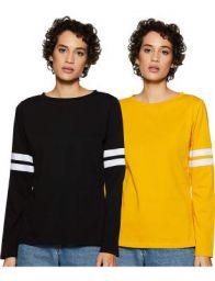 Miss Olive Women's Plain Regular fit T-Shirt (Pack of 2)