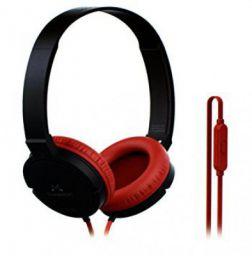 (Renewed) SoundMagic P10S Headphones with Mic (Black/Red)
