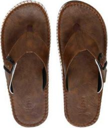 Men Synthetic Leather Chappal (Camel) Slippers