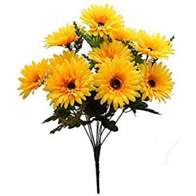 Four Walls Beautiful Decorative Artificial Garabara Flower Bunches for Home décor (48 cm Tall, 10 Heads, Yellow)