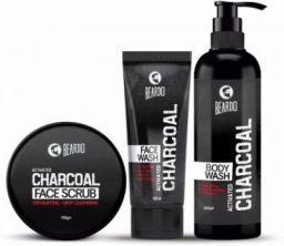 Beardo Charcoal Combo - Face Scrub, Face Wash & Body Wash ( Set of 3 )