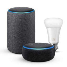 Echo Plus (Black) bundle with Echo Dot (Black) and Philips Hue White Ambiance smart bulb