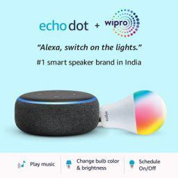 Echo Dot (3rd Gen, Black) + Wipro 9W LED Smart Color Bulb combo - Works with Alexa - Smart Home starter kit