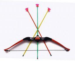 Creatif Ventures Plastic Archery Shoot Bow and Arrow with 3 Suction Multicolour