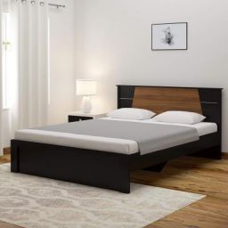 Spacewood Riva Queen Size Engineered Wood Bed (Particle Board - Natural Wenge)