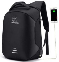 Vebeto Anti Theft Backpack with USB Charging Port 15.6 Inch Laptop Bagpack Waterproof Casual Bag